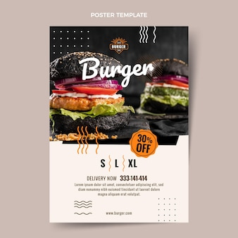 Flat burger poster template