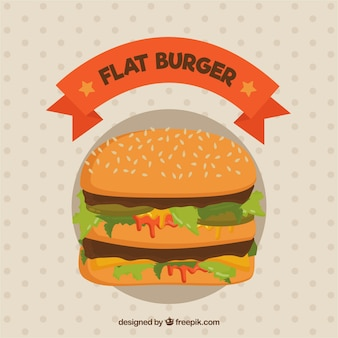 Flat burger with pickles