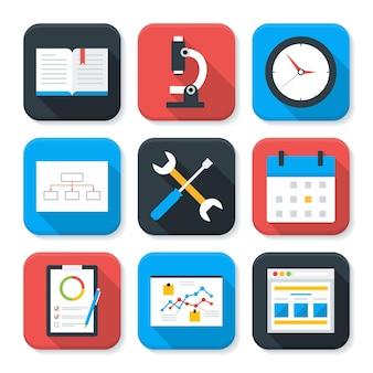 フラットビジネスとオフィスライフアプリのアイコンを設定します。長い影で設定された長方形の形のアイコンのベクトル図