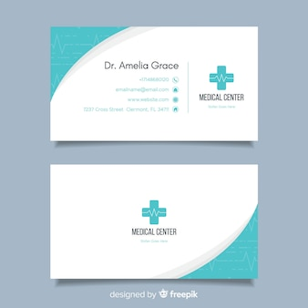Flat business card concept for hospital or doctor