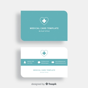 Flat business card with medical design