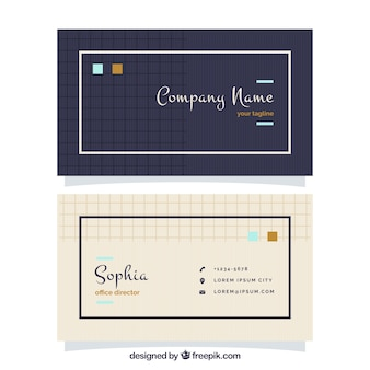 Flat business card with squares and lines