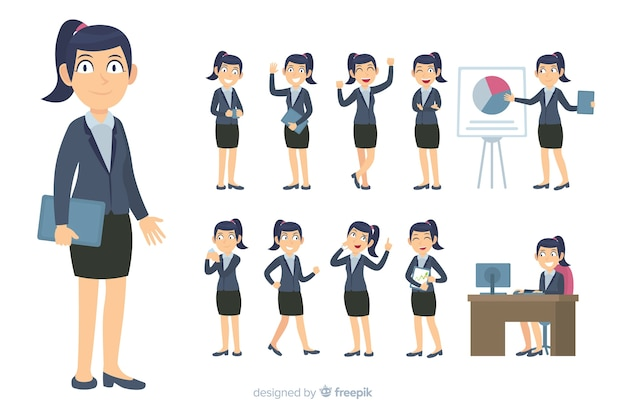Flat business character in different postures
