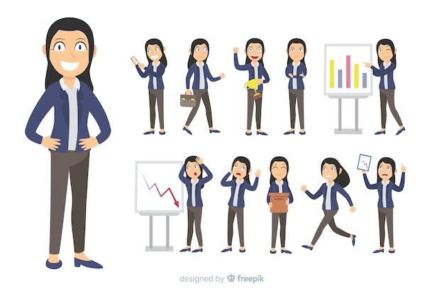 さまざまな姿勢で平らなビジネスキャラクター