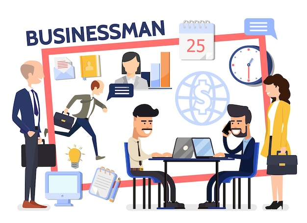 Flat business composition with businessmen managers negotiation computer office workplace letter