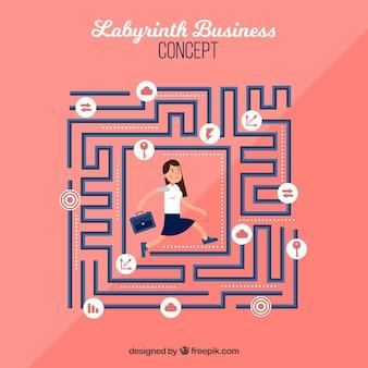 Плоская концепция бизнеса с лабиринтом