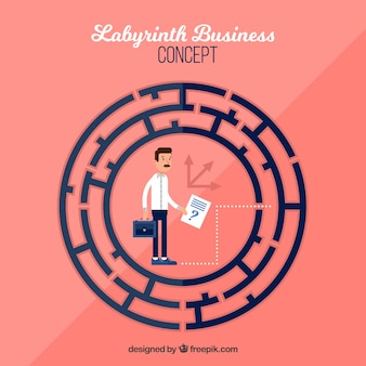 Flat business concept with labyrinth