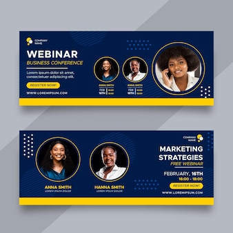 Flat business conference banners design