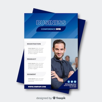 Flat business conference brochure template
