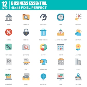Flat business essential communication and office icons set