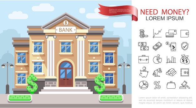 Flat business and finance colorful concept with bank building financial and banking icons  illustration,
