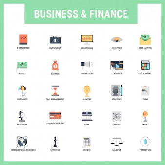 Flat business and finances icons set