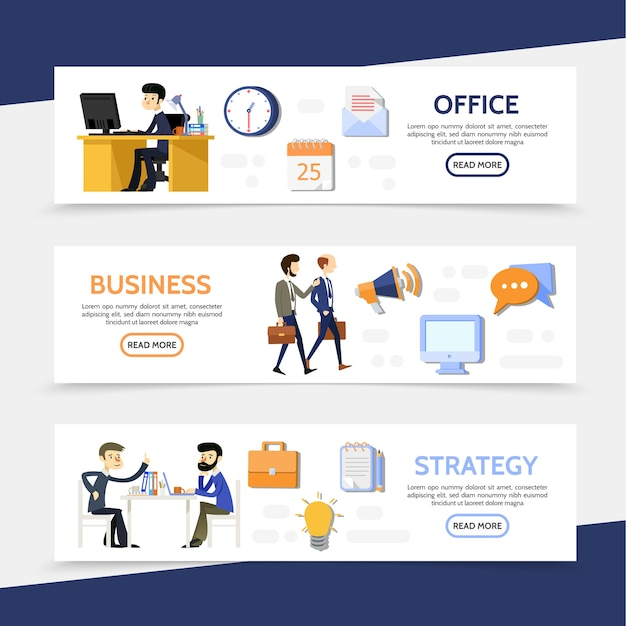 Flat business horizontal banners with businessmen managers office workplace calendar letter