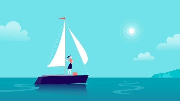 Плоская бизнес-иллюстрация с бизнес-леди, плывущей на корабле