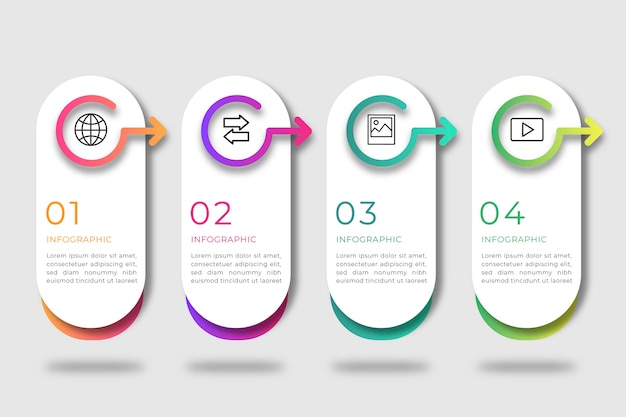 Flat business infographic steps