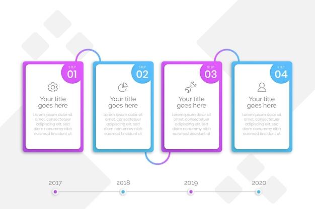 フラットビジネスインフォグラフィックの手順