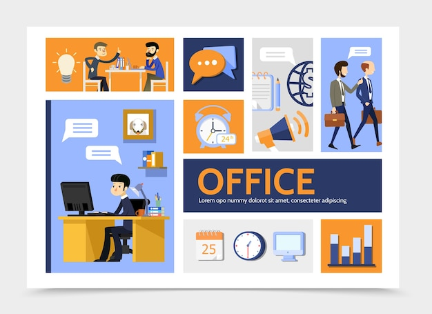 Flat business infographic template with businessmen office workplace graph alarm clock lightbulb