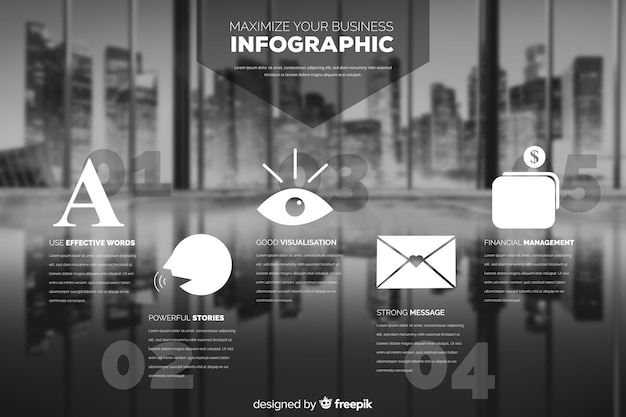 Flat business infographic with photo