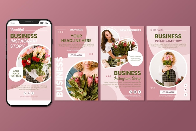 Flat business instagram story collection
