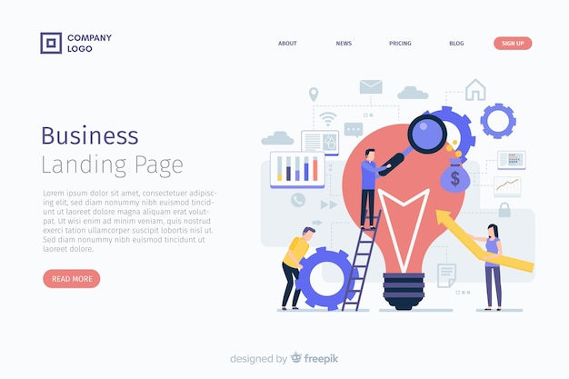 Flat business landing page template Free Vector