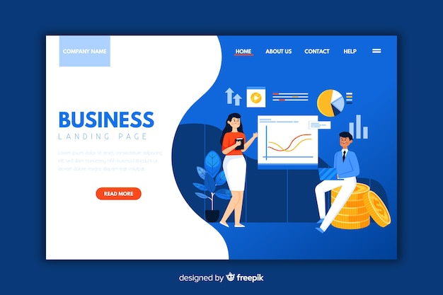 Flat business landing page template