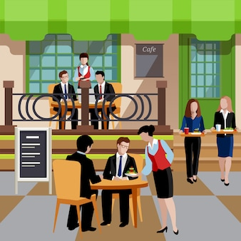 Flat business lunch people concept