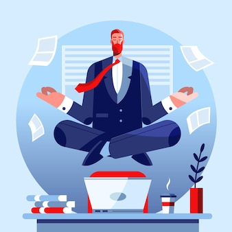 Flat business man meditating illustration