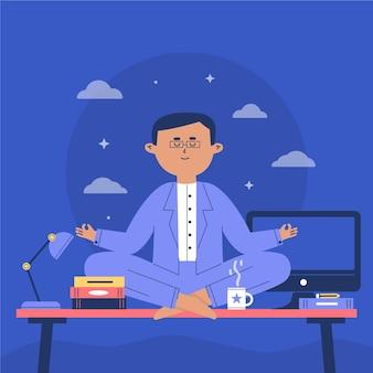 Flat business man meditating