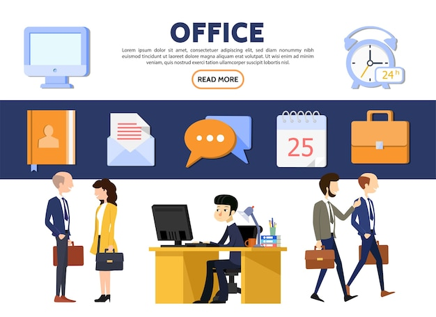 Flat business office concept with businessmen businesswomen workplace computer notepad letter
