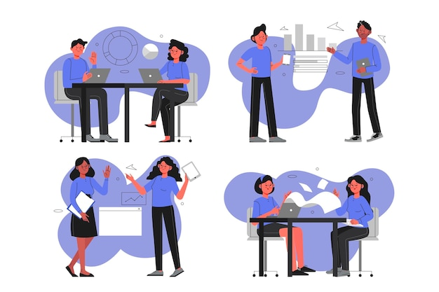 Flat business people collection