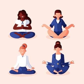 瞑想するフラットビジネスの人々のグループ