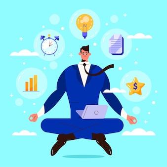 Плоские деловые люди медитируют иллюстрация