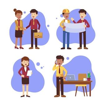 Набор плоских деловых людей