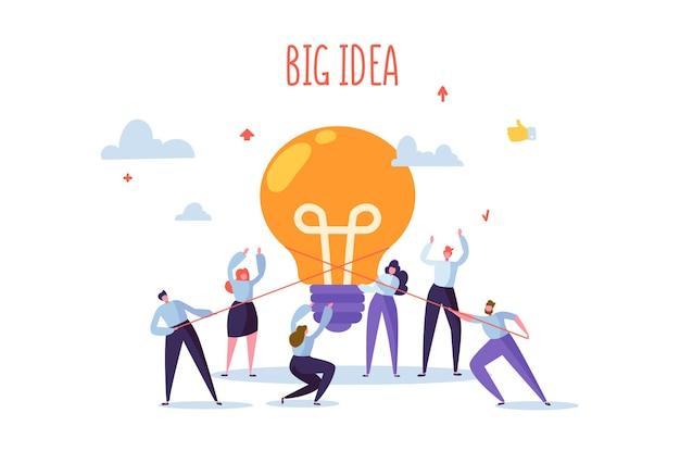 大きな電球のアイデアを持つフラットなビジネスマン