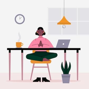 Flat business person meditating