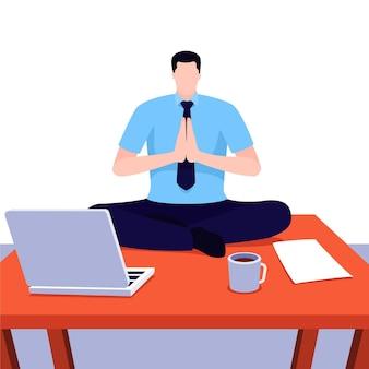 瞑想するフラットビジネスパーソン