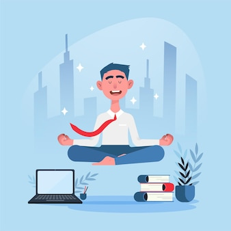 Persona di affari piatto meditando