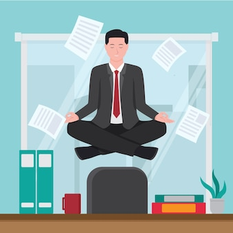Flat business person meditating