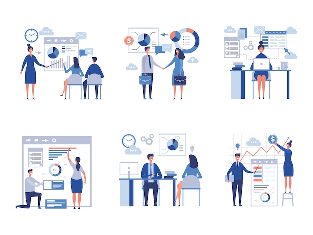 Flat business scenes collection