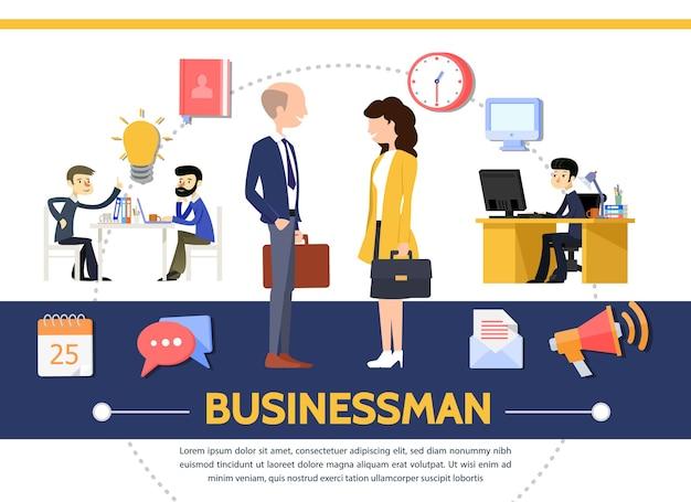 ビジネスマンビジネスウーマンオフィス電球メモ帳時計コンピューターとフラットビジネステンプレート