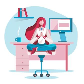 瞑想フラットビジネス女性