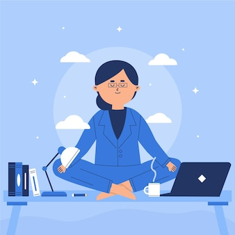Flat business woman meditating