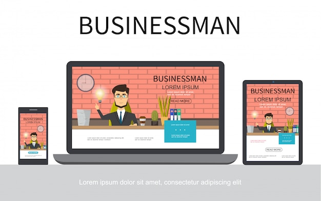 Flat businessman adaptive design concept with business man working at table in office on mobile laptop and tablet screens isolated