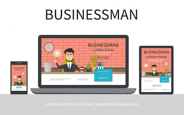 Concetto di design adattivo di uomo d'affari piatto con uomo d'affari che lavora al tavolo in ufficio su schermi portatili e tablet isolati