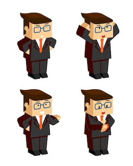 Flat businessman character emotions on white background
