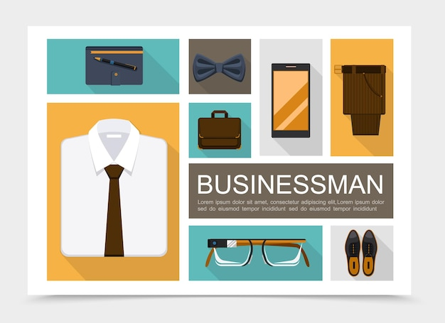 Flat businessman elements set with shirt bow tie notepad pencil briefcase eyeglasses leather shoes trousers mobile isolated  illustration,