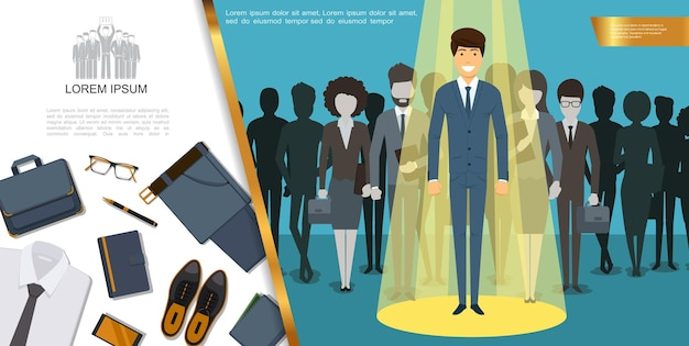Плоский деловой стиль и концепция аксессуаров с деловыми людьми, портфель, рубашка, галстук, блокнот, кожаная обувь, кошелек, телефон, очки, брюки, ручка, ремень