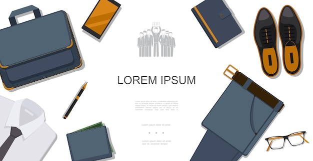 Flat businessman style concept with shirt briefcase phone notepad leather shoes trousers eyeglasses wallet pen  illustration,
