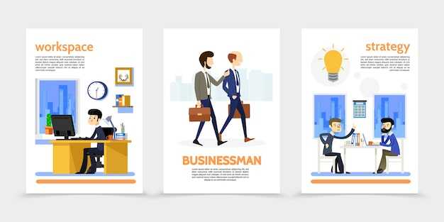 Flat businessman vertical banners with walking and sitting workers managers business office workplace