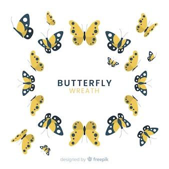 Flat butterflies flying background